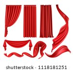 curtain red curtains stage... | Shutterstock .eps vector #1118181251