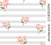 pattern  watercolor flowers ... | Shutterstock . vector #1118201054