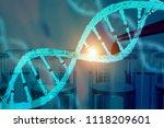 dna research concept dna... | Shutterstock . vector #1118209601