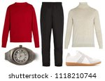 collage of men's clothes on... | Shutterstock . vector #1118210744