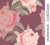 watercolor flowers  pink roses... | Shutterstock . vector #1118221631
