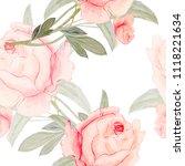 watercolor flowers  pink roses... | Shutterstock . vector #1118221634