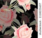 watercolor flowers  pink roses... | Shutterstock . vector #1118221637