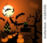 happy halloween theme greeting... | Shutterstock .eps vector #111823181