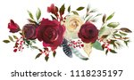 Stock photo watercolor floral bouquet burgundy bordo white red navy blue roses peonies leaves horizontal 1118235197