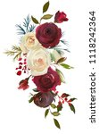 Stock photo watercolor floral bouquet burgundy bordo white red navy blue roses peonies leaves beautiful 1118242364
