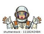 astronaut woman surprised pop... | Shutterstock .eps vector #1118242484