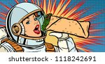 hungry woman astronaut eating... | Shutterstock .eps vector #1118242691