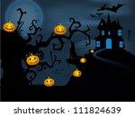 scary halloween full moon night ... | Shutterstock .eps vector #111824639