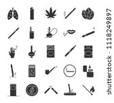 smoking glyph icons set.... | Shutterstock . vector #1118249897