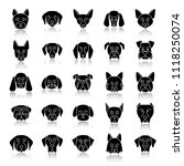 dogs breeds drop shadow black... | Shutterstock . vector #1118250074
