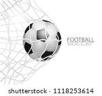 soccer ball in net. isolated on ...   Shutterstock .eps vector #1118253614
