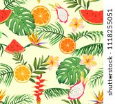 seamless pattern with palm... | Shutterstock .eps vector #1118255051