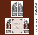 laser cut template of wedding... | Shutterstock .eps vector #1118261861