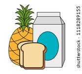 milk box with bread and fruit | Shutterstock .eps vector #1118289155