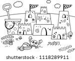 black and white sand castle  on ... | Shutterstock .eps vector #1118289911