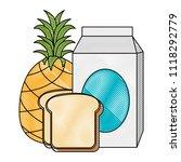 milk box with bread and fruit | Shutterstock .eps vector #1118292779