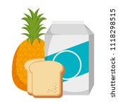 milk box with bread and fruit | Shutterstock .eps vector #1118298515