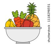bowl with fruits and vegetables | Shutterstock .eps vector #1118298551