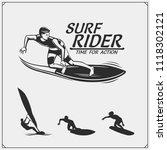 set of surfing emblems  labels... | Shutterstock .eps vector #1118302121