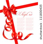 card with red gift bow with... | Shutterstock .eps vector #111830435