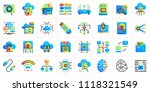 gradient flat icons set of... | Shutterstock .eps vector #1118321549