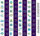 gradient flat  outline icons... | Shutterstock .eps vector #1118321555