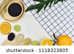 top view of fresh fruits and... | Shutterstock . vector #1118323805