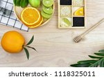 top view of fresh fruits and... | Shutterstock . vector #1118325011