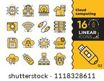 linear icon set of cloud... | Shutterstock .eps vector #1118328611