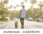 Stock photo young man riding on skateboard with puppy chow chow on a street with palm trees in the evening with 1118330144