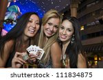 three young women in front of a ... | Shutterstock . vector #111834875