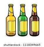 beer bottles with blank gold... | Shutterstock .eps vector #1118349665