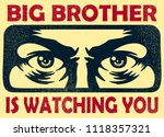 vintage big brother watching... | Shutterstock .eps vector #1118357321