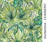 tropical pattern. watercolor... | Shutterstock . vector #1118360507
