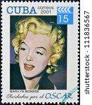 cuba   circa 2001  a  stamp... | Shutterstock . vector #111836567