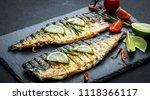 fried mackerel fillets with... | Shutterstock . vector #1118366117