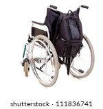 empty wheelchair , wehicle for handicapped persons ,invalid chair, white background - stock photo