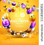 halloween party template with... | Shutterstock .eps vector #1118368301