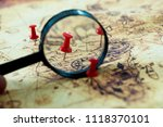 magnifying glass looking at pin ... | Shutterstock . vector #1118370101