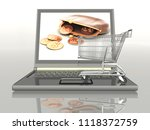shopping cart and laptop... | Shutterstock . vector #1118372759