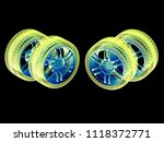 wheels isolated on black. 3d... | Shutterstock . vector #1118372771