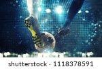 close up of a soccer striker... | Shutterstock . vector #1118378591