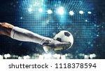 close up of a soccer striker... | Shutterstock . vector #1118378594