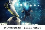 close up of a soccer striker... | Shutterstock . vector #1118378597