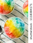 sweet homemade shaved rainbow...   Shutterstock . vector #1118384171