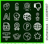 set of 16 signs outline icons...   Shutterstock .eps vector #1118389007