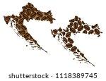croatia    map of coffee bean ... | Shutterstock .eps vector #1118389745