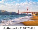 sunset at golden gate bridge in ... | Shutterstock . vector #1118390441