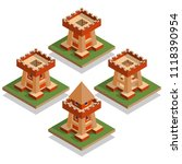 a set of castle towers.... | Shutterstock . vector #1118390954